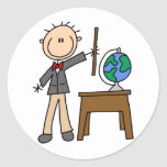 Teacher With Globe Round Sticker