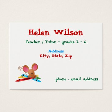 Beach Themed Teacher With Mouse and Crayons Business Card