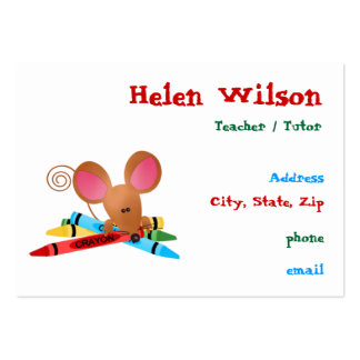 Teacher With Mouse and Crayons Large Business Card