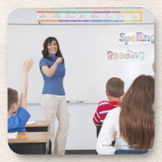 Teacher with students drink coaster