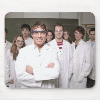 Teacher with students in science class mouse pad