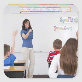 Teacher with students square sticker