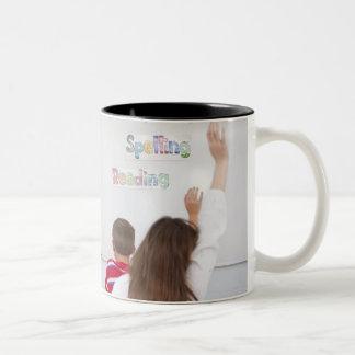 Teacher with students Two-Tone coffee mug