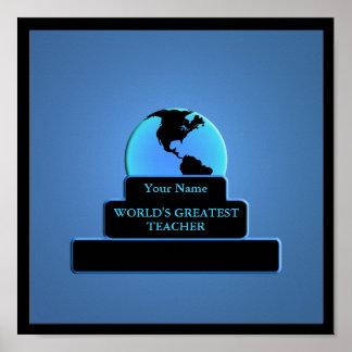 Teacher World's Greatest Award Custom Blue Poster