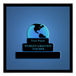 Teacher World's Greatest Award Custom Blue Posters