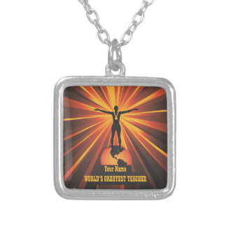 Teacher World's Greatest Award Trophy Necklace