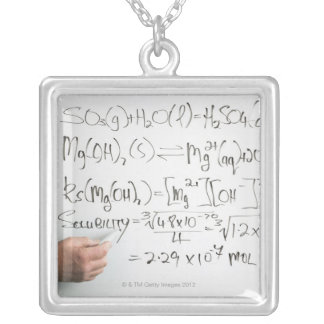 Teacher writing chemical formulae on white board square pendant necklace