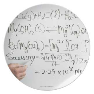 Teacher writing chemical formulae on white board party plates