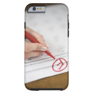 Teacher writing F grade on worksheet Tough iPhone 6 Case