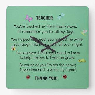 Teacher, you've touched my life... wall clocks