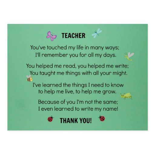Teacher, you've touched my life... postcard
