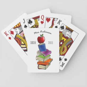 Beach Themed TeacherApple with Book Stack Playing Cards