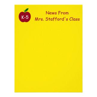 Teacher's Apple Bright Yellow Personalized Letterhead