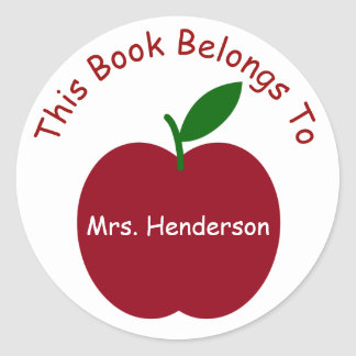 Teacher's Apple Personalized Bookplate