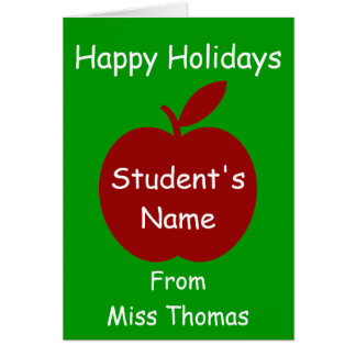 Teacher's Apple Personalized Card