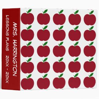 Teacher's Apple Red and White Personalized 3 Ring Binder