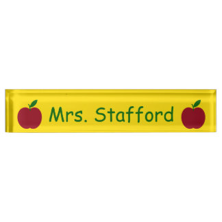 Teacher's Apple Red Green Yellow Personalized Name Plate
