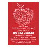Teachers Apple Retirement Party Invitation - Red