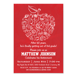 Teachers Apple Retirement Party Invitation - Red