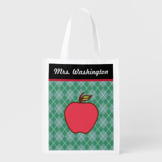 Teacher's Apple Reusable Grocery Tote Bag Gift
