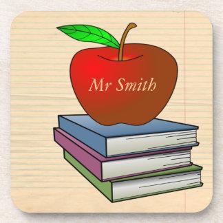 Teacher's Apple Stack of Books Customize Coaster