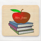 Teacher's Apple Stack of Books Customize Mouse Pad