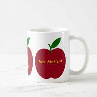 Teacher's Apples Personalized Classic White Coffee Mug