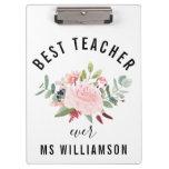 Teacher's Appreciation Floral Personalized Clipboard