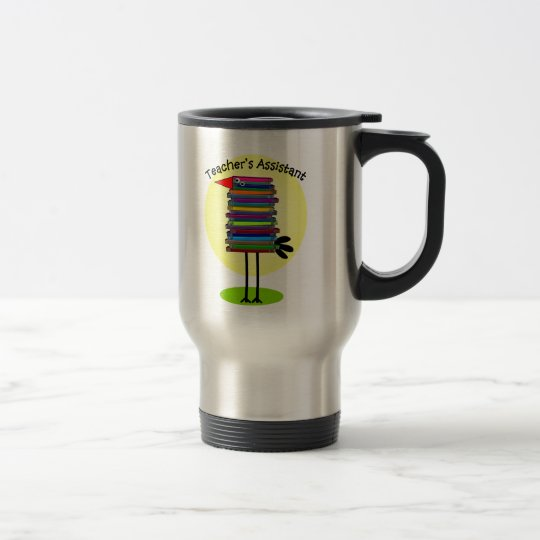 "Teacher's Assistant ""Book Bird"" Design Travel Mug"