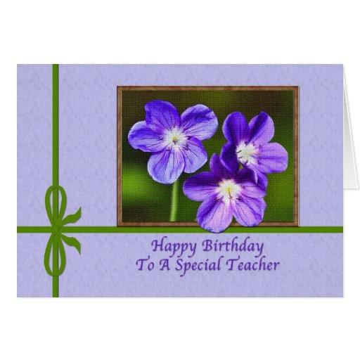 Teacher's Birthday Card with Purple Violas | Zazzle