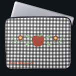 "Teacher&#39;s Black &amp; White Checkered Custom Laptop Sleeve<br><div class=""desc"">Pretty teacher&#39;s lap top zippered sleeve done in a black and white checkerboard pattern. Graphics of a red apple and flowers decorate the middle. Text in red, at the bottom, is ready to personalize. Stylish way to keep your lap top protected, and makes a cute gift idea for your favorite...</div>"
