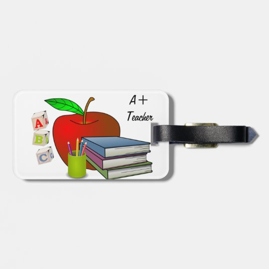 Teacher's Books & Apple Personalize Bag Tag