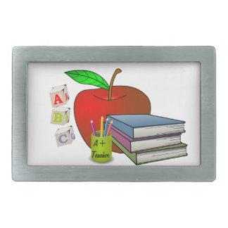 Teacher's Books & Apple Personalize Rectangular Belt Buckle