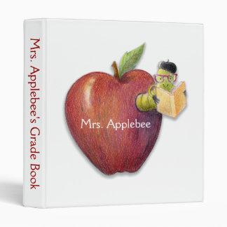 Teacher's Bookworm in Apple 3 Ring Binder