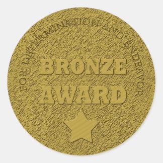 """Teacher's """"Bronze Award"""" Motivational Classic Round Sticker"""