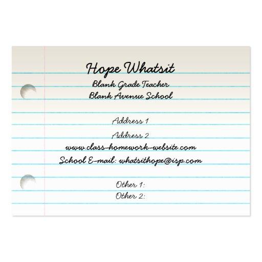 Teacher's Business Profile Card