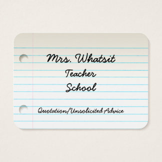 Teacher's Business Profile Card