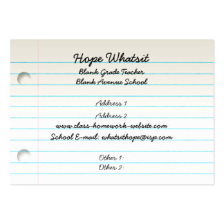 Teacher's Business Profile Card Large Business Cards (Pack Of 100)