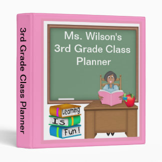 "Teacher's Chalk Board Ethnic Female 1"" Binder"