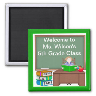 Teacher's Chalk Board Female Square Magnet