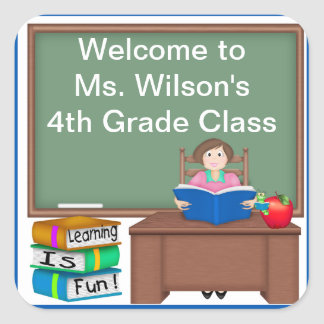 Teacher's Chalk Board Female Square Sticker