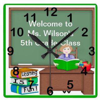 Teacher's Chalk Board Female Square Wall Clock
