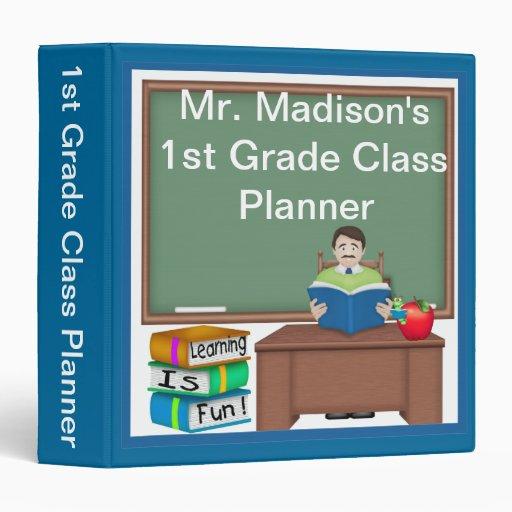 "Teacher's Chalk Board Male 1.5"" Binder"