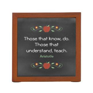 Teacher's Chalkboard Aristotle Quote Pencil/Pen Holder