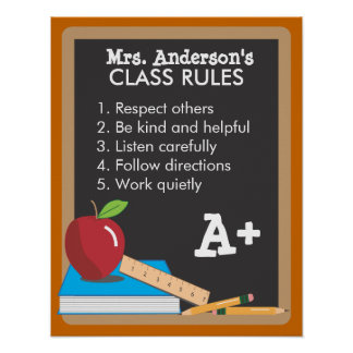 Teacher's Class Rules Blackboard Poster