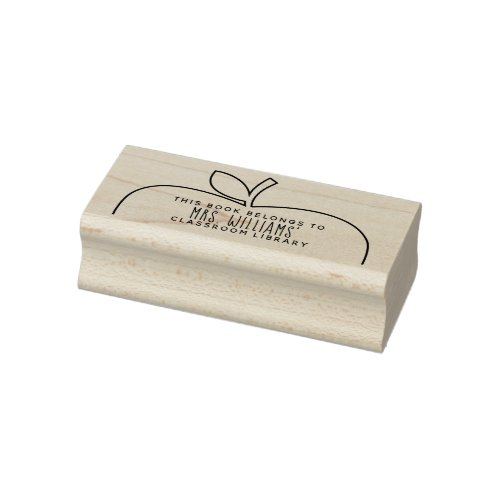 Teachers Classroom Library Apple Rubber Stamp