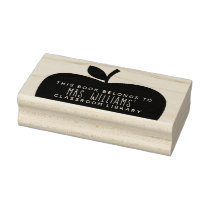 Teacher's Classroom Library Apple Silhouette Rubber Stamp