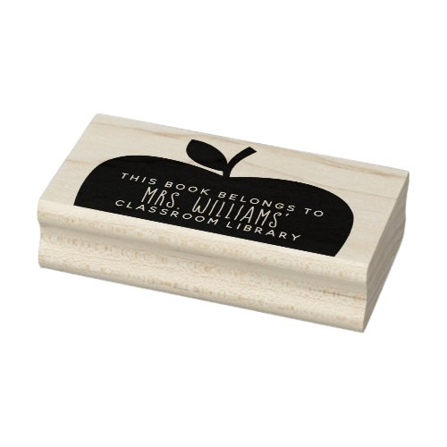 Teachers Classroom Library Apple Silhouette Rubber Stamp