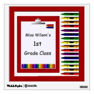 Teachers Crayons Clipboard Classroom Wall Decal
