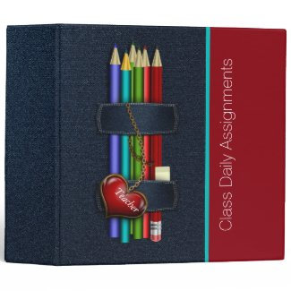 Teacher's Denim and Pencils Custom Organizer 3 Ring Binder